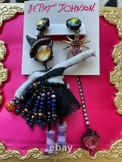 Betsey Johnson And Boo To You Cat Witch Spider Heart Mismatch Earrings VERY RARE