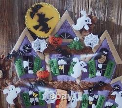 Bucilla HAUNTED HOUSEFelt Halloween Wall Hanging KitGhosts Cat Witch OOP RARE