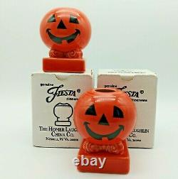 Fiesta Happy Pumpkin Halloween TAPER CANDLE Holders Persimmon New in Boxes RARE