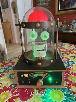 Halloween Gemmy Frankenstein Haunted Talking Lighted Flashing Skull Radio Rare