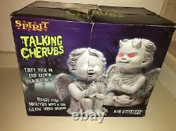 Halloween prop ANIMATED TALKING CHERUBS. Brand new, never removed from BOX. RARE