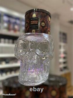 NEW RARE Bath & Body Works 3 Wick Glass Skull Candle Holder Light Up FREE SHIP