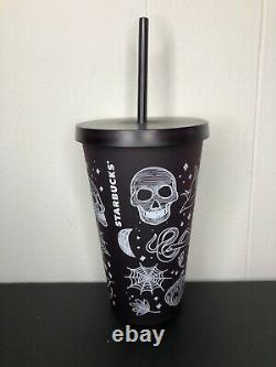 NEW RARE Starbucks Halloween Collection 2019 Skull 16 Oz Tumbler Purple/Black