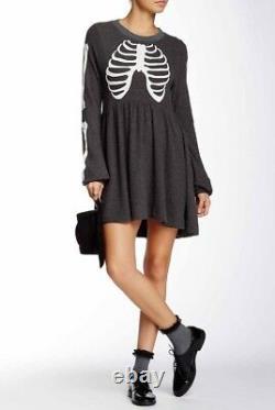 NWT WILDFOX COUTURE Skeleton Babydoll Dress Halloween X-Small XS RARE