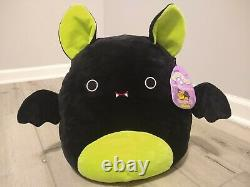 New Large 12 Squishmallow Bart Green Black Bat Plush Halloween limited RARE