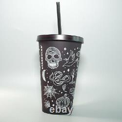 New Starbucks 2019 Halloween Skull Grande Tumbler Plum Purple Matte Finish RARE