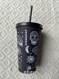 New Starbucks 2019 Halloween Skull Grande Tumbler Plum/Purple Rare HTF