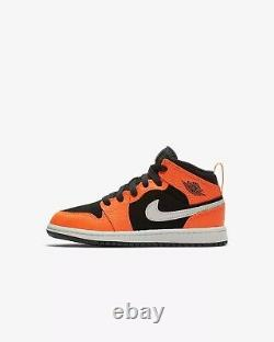 Nike Air Jordan 1 Mid Halloween Black Orange Bone Mens 3 3Y Womens 4.5 NIB RARE