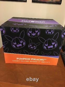 Pikachu Pumpkin Ceramic Tea Light set Pokemon Center Halloween Exclusive Rare