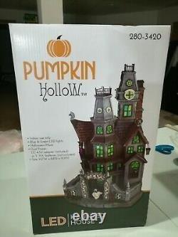 Pumpkin Hollow Haunted House Lighted Village New In Box & Inspected! Rare