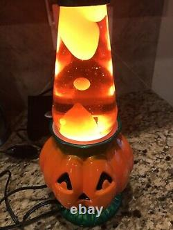 RARE Pair 2 Vintage Halloween pumpkin Lava Lamp New Box Unused Tested Complete