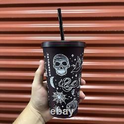 RARE Starbucks Halloween Collection 2019 Skull 16 Oz Tumbler Purple/Black