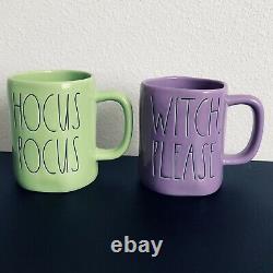 Rae Dunn 2 mugs Witch, Please Hocus Pocus Halloween Mugs Rare HTF