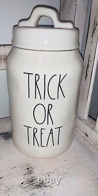 Rae Dunn Halloween TRICK OR TREAT Canister Fall Candy Jar Rare Collectors Item