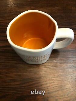 Rae Dunn MORNING PUMPKIN Mug New 2019 Ceramic Halloween White And Orange RARE