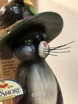 Rare Jim Shore Black Cat Hat Halloween Crow Lg 19.5 NEw