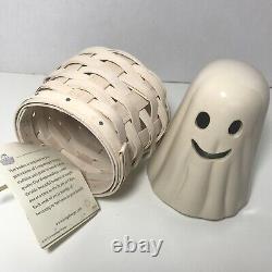 Rare Longaberger 2013 Boo Basket and Ghost Pottery Topper Halloween