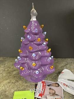 Rare Mr Christmas Mr Halloween Ceramic Tree Purple 12 Pumpkin LED Lighted Cat