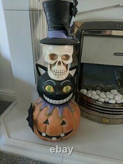 Tk Maxx Halloween Totem Pole skull, cat, bats pumpkin large over 2 ft 72cm rare