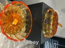 Waterford Marquis Crystal Large 8ORANGEPUMPKINHALLOWEENCandy Dish Bowl RARE
