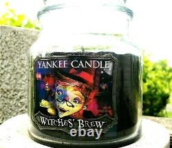 Yankee Candle Halloween WITCHES BREW HOLOGRAM Medium 14.5 oz WHITE LABELRARE